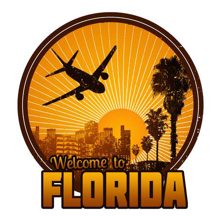 florida: Welcome to Florida travel label or stamp on white, vector illustration Illustration