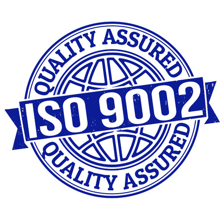 assured: ISO 9002 quality assured grunge rubber stamp on white, vector illustration