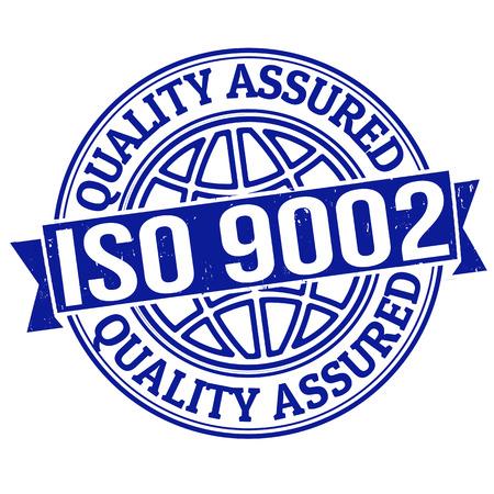 iso: ISO 9002 quality assured grunge rubber stamp on white, vector illustration