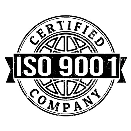 standardization: ISO 9001 certified grunge rubber stamp on white, vector illustration