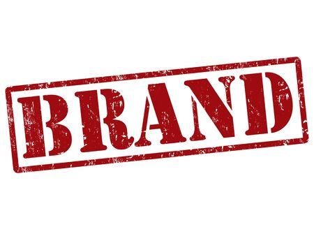 brand name: Brand grunge rubber stamp on white, vector illustration