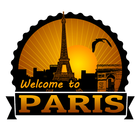 Welcome to Paris travel label or stamp on white, vector illustration Vector