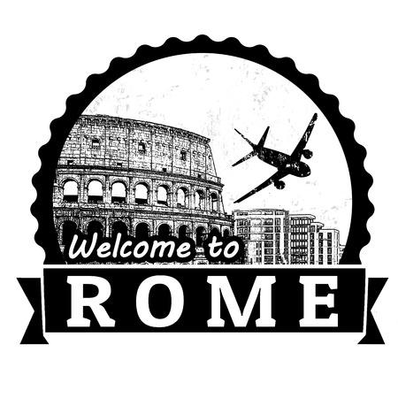 timbre voyage: Bienvenue à l'étiquette du Voyage Rome ou timbre sur fond blanc, illustration vectorielle