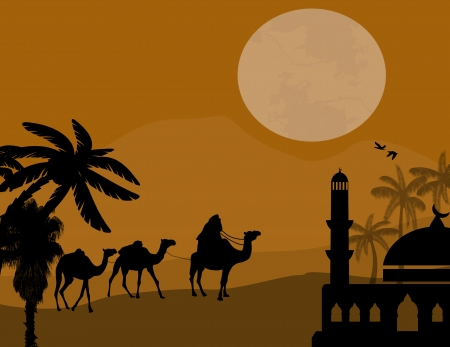 Sunset landscape vector: Bedouin camel caravan in wild africa landscape on sunset, vector illustration