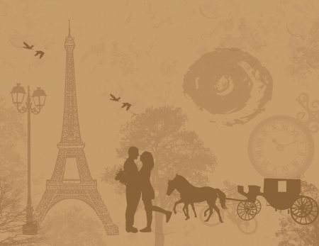 Carriage and lovers in Paris, on vintage romantic background, vector illustration Vector