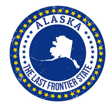 frontier: Vintage stamp with text The Last Frontier State written inside and map of Alaska, vector illustration