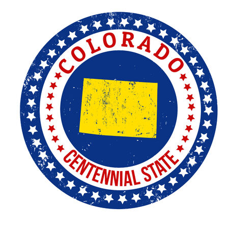 state of colorado: Vintage stamp with text Centennial State written inside and map of Colorado, vector illustration