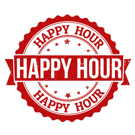Happy hour grunge rubber stamp on white, vector illustration