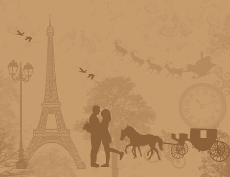 Carriage and lovers in Paris, with Santa Vector