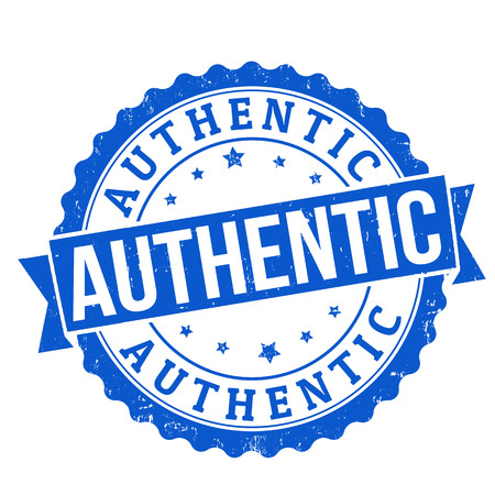 authenticity: Authentic grunge rubber stamp on white, vector illustration