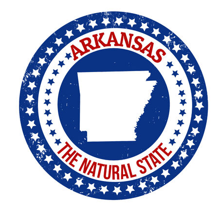 arkansas state map: Vintage stamp with text The Natural State written inside and map of Arkansas, vector illustration Illustration