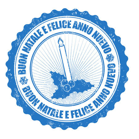 anno: Grunge rubber stamp italian text Buon Natale e felice Anno Nuovo, translate Merry Christmas and Happy New Year