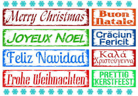 natale: Merry Christmas stamps set in different languages, vector illustration