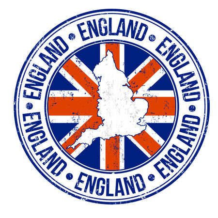 Grunge rubber stamp with england flag, map and the word England written inside, vector illustration