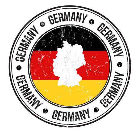 Grunge rubber stamp with Germany flag, map and the word Germany written inside, vector illustration Vector