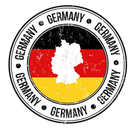 bandera alemania: Grunge sello de goma con la bandera de Alemania, el mapa y la palabra Alemania escrito en su interior, ilustraci�n vectorial