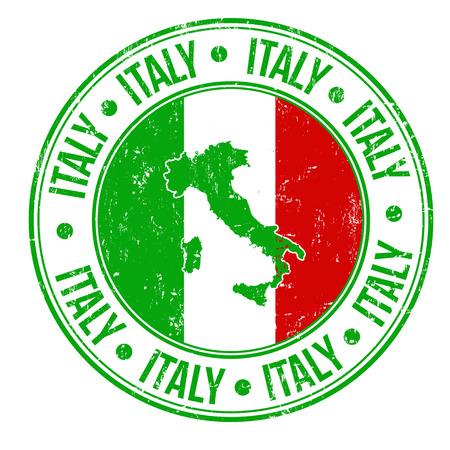 Grunge sello de goma con Italia bandera, mapa y la palabra Italia escrito en su interior, ilustración vectorial