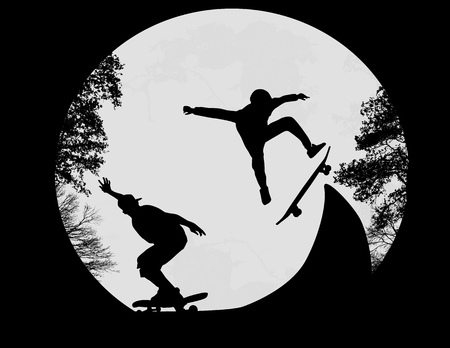 skate park: Silhouette of a skateboarders doing a flip trick at the skate park, vector illustration