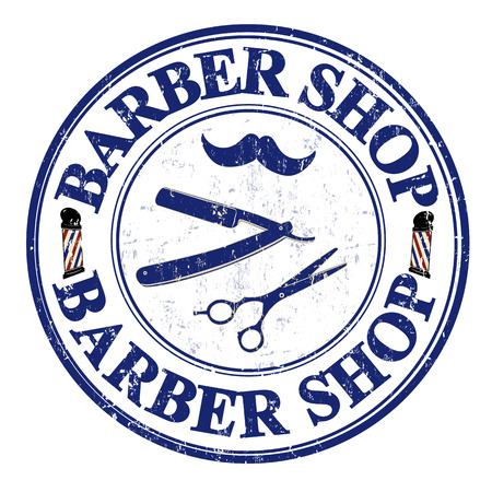 barber pole: Barber shop grunge rubber stamp on white, vector illustration