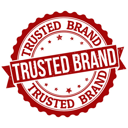 trusted: Grunge rubber stamp with the text trusted brand written inside, vector illustration Illustration