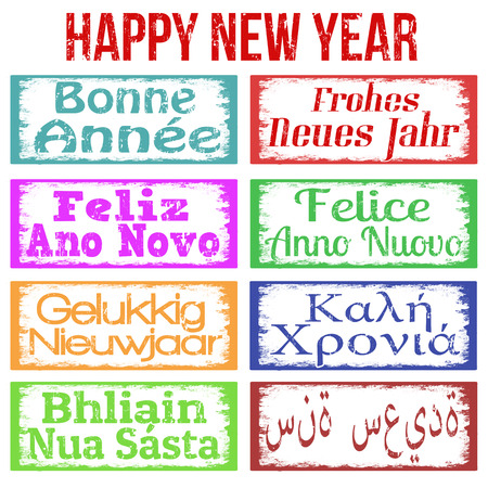 Happy New Year stamps set in different languages, vector illustration Vector