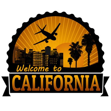 Welkom op reis Californië etiket of stempel op wit, vector illustratie