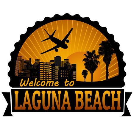 timbre voyage: Bienvenue à l'étiquette du Voyage Laguna Beach ou timbre sur fond blanc, illustration vectorielle Illustration