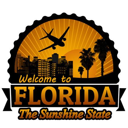 timbre voyage: Bienvenue à l'étiquette du Voyage Floride ou timbre sur fond blanc, illustration vectorielle