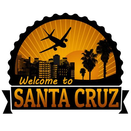 timbre voyage: Bienvenue à l'étiquette du Voyage Santa Cruz ou timbre sur fond blanc, illustration vectorielle