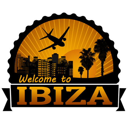 ibiza: Welcome to Ibiza travel label or stamp on white, vector illustration Illustration