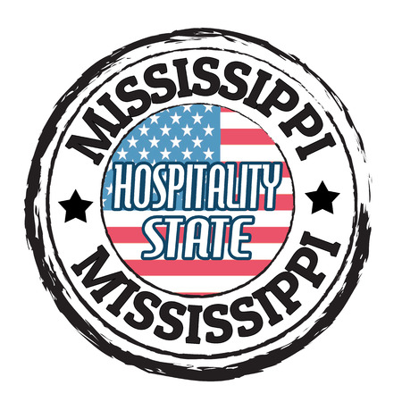 mississippi: Grunge rubber stamp with flag and the text Mississippi, Hospitality State