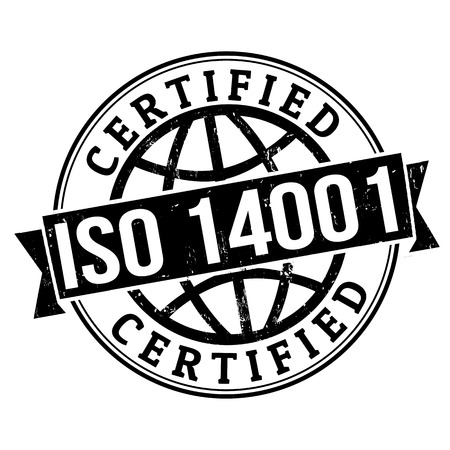 iso: ISO 14001 certified grunge rubber stamp on white