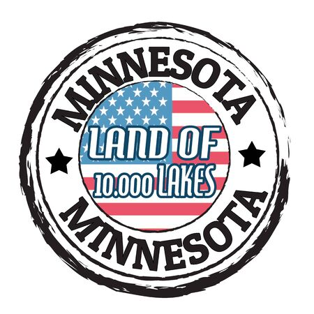 Grunge rubber stamp with flag and the text Minnesota, Land of 10 000 Lakes Vector
