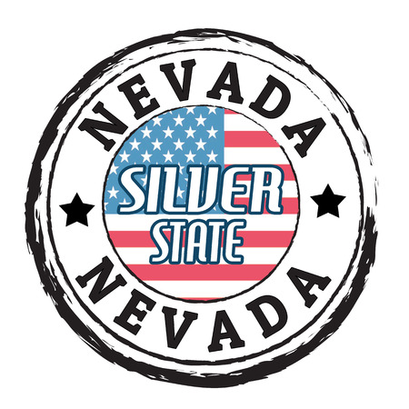 silver state: Grunge rubber stamp with flag and the text Nevada, Silver State
