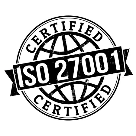 ISO 27001 certified grunge rubber stamp on white