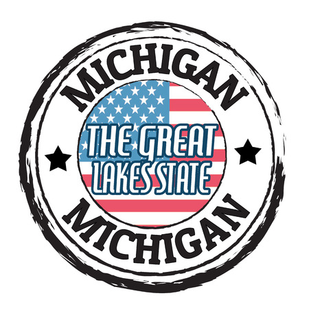 the great lakes: Grunge rubber stamp with flag and the text Michigan, The Great Lakes State