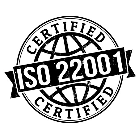 iso: ISO 22001 certified grunge rubber stamp on white