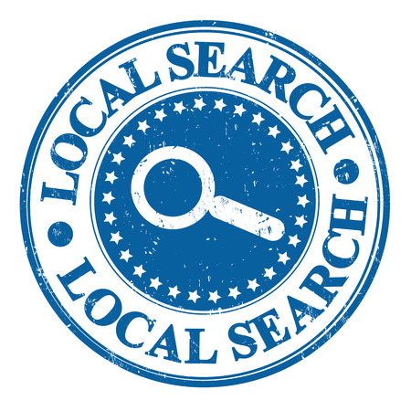 seo: Local search SEO concept grunge rubber stamp
