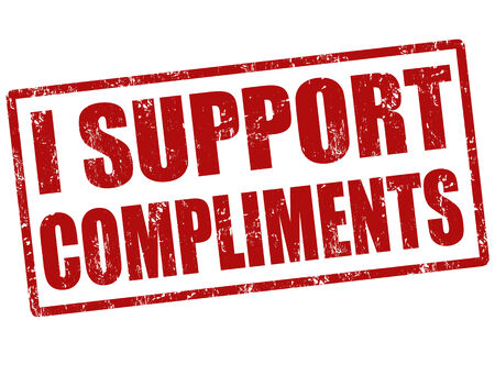 compliments: I support compliments grunge rubber stamp on white Illustration