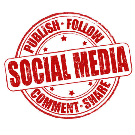 Social media grunge rubber stamp on white Vector