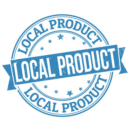 business products: Local product grunge rubber stamp on white Illustration