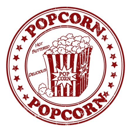 Grunge rubber stamp, with the text Popcorn written inside illustration Vector