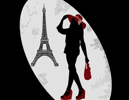 Woman silhouette on a french background, vector illustration Vector