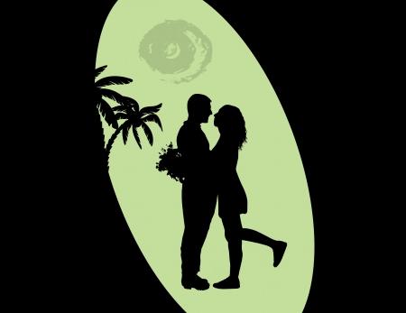 innamorati che si baciano: Coppie romantiche silhouette abbraccio in amore sul paesaggio tropicale, illustrazione vettoriale