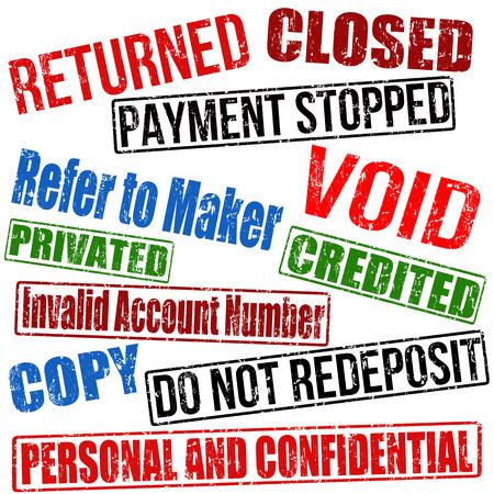 returned: Set of bank or business grunge rubber stamps collection on white, vector illustration