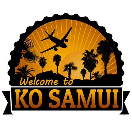 samui: Welcome to Ko Samui travel label or stamp on white, vector illustration Illustration