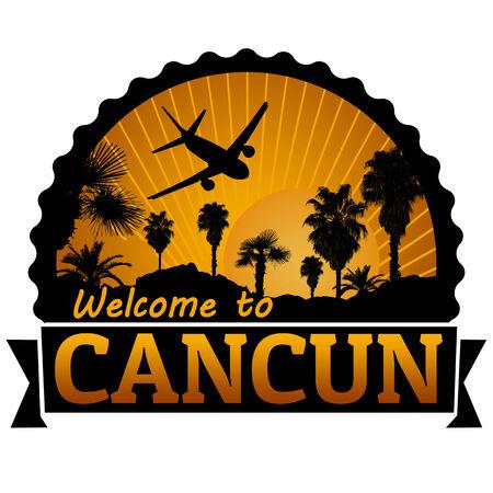 timbre voyage: Bienvenue à l'étiquette du Voyage Cancun ou timbre sur fond blanc, illustration vectorielle