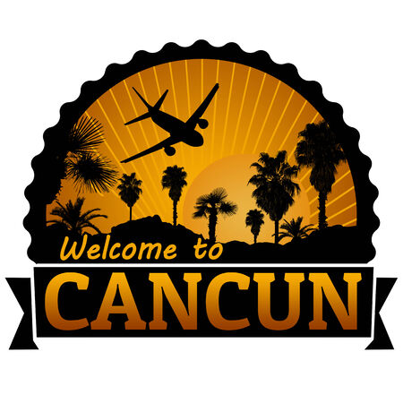 cancun: Welcome to Cancun travel label or stamp on white, vector illustration Illustration