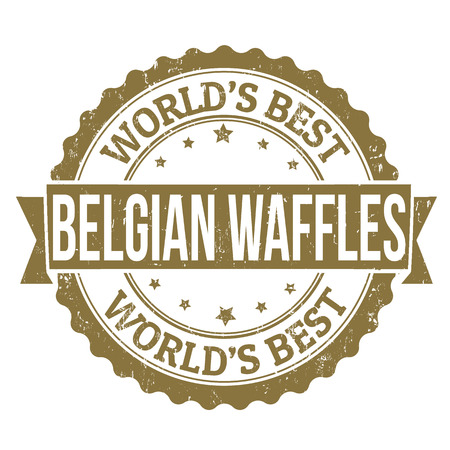 top menu: Grunge rubber stamp with the text Belgian Waffles written inside, vector illustration Illustration