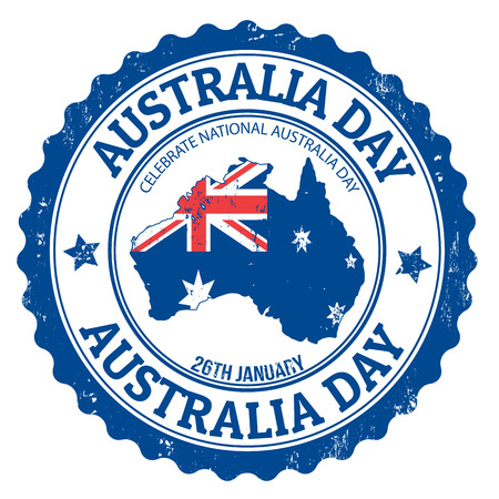 australia stamp: Grunge Australia day rubber stamp on white, vector illustration